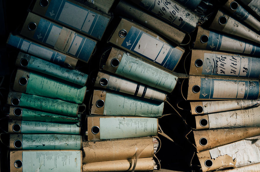 Desk Office Folders In A Row Twilight Abandoned Backgrounds Bankrupt Bankruptcy Business Finance And Industry Case Close-up Day Dirt Dirty Dust Dusty Factory Files Full Frame Indoors  Industry Large Group Of Objects No People Pile Rusty Urbex Indoors