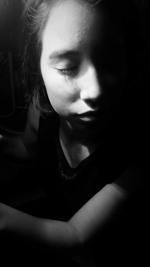 Monochrome Photography Closedeyes Breath Young Adult Young Women Indoors  Person Human Face Serious