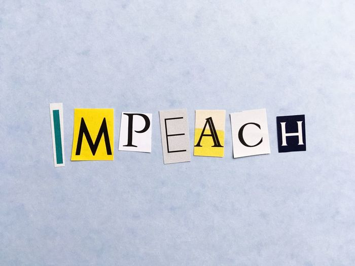 Impeachment Impeach Communication Yellow Text No People Guidance Direction Close-up