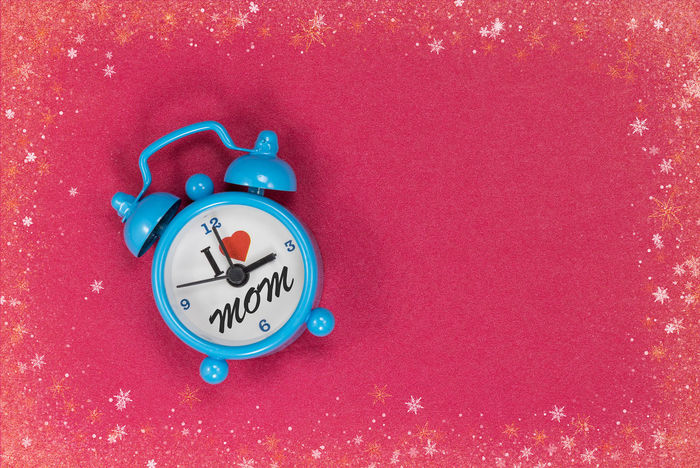 I Love Mom Alarm Clock Blue Clock Clock Clock Face Close-up Indoors  Minute Hand No People Red Time