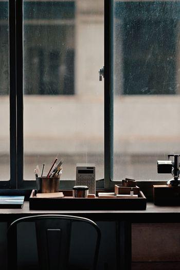 View of desk by window