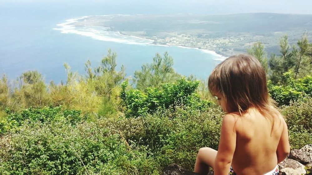 Hawaii Lepur Molokai Is Magical Child Cliff View From Above Ocean Coastline Rock Wall Beautiful Nature