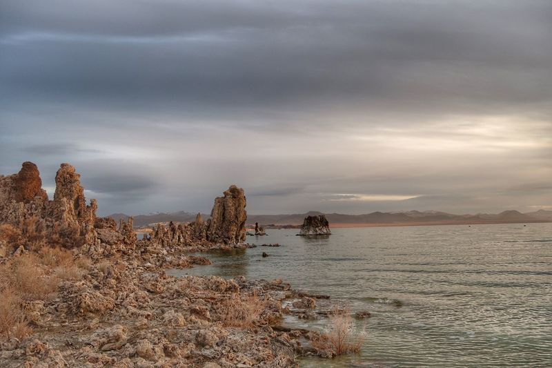 Landscape of tufa formations on Mono Lake at dawn Unusual Beauty Tufa Mono Lake Water Sky Cloud - Sky Sea Beauty In Nature Nature Scenics - Nature Land Tranquil Scene No People Rock Overcast Non-urban Scene Beach Outdoors Day Tranquility