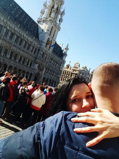 love him Grote Markt Square Brussels City Young Women Men Women Togetherness Portrait Human Hand Group Of People Architecture Travel Clock Tower Visiting Large Group Of People Self Portrait Photography Self Portrait Tourist Crowd Tower Photo Messaging Selfie