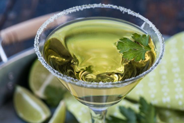 Close-up of lime cilantro martini