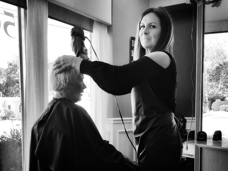 Sassy cut. Two People Cutting Hair Indoors  Combing Beautiful People Adults Only Adult People Lifestyles Body Care Standing Barber Only Women Real People Silhouette Day Young Adult Human Hand Salon Business Black And White Photography Black & White EyeEm Best Shots - People + Portrait