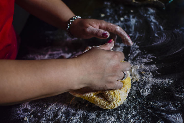 Close-up of woman kneading dough