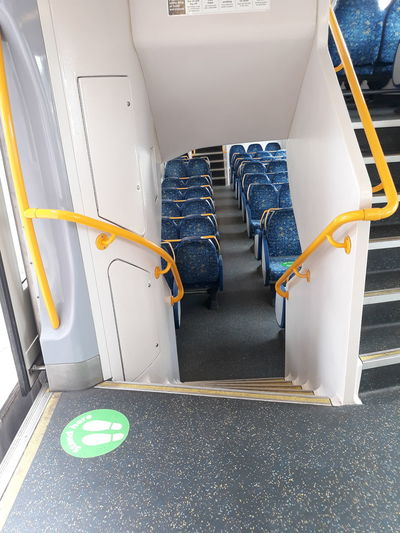 High angle view of seats in bus