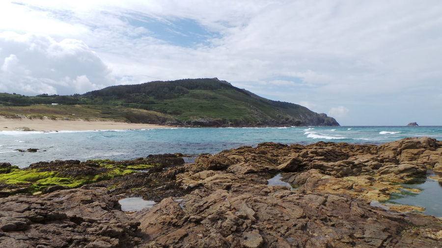 Scenic View Of Rocky Shore Against Sky