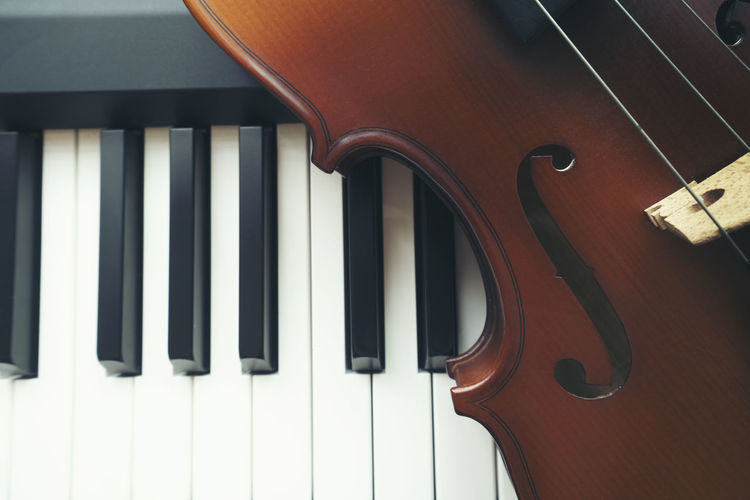 Piano keyboard with violin,top view Musical Instrument Music Musical Equipment Arts Culture And Entertainment String Instrument Piano String Musical Instrument String Piano Key Close-up Wood - Material No People Indoors  Violin Classical Music Still Life Sheet Music Playing Performance Sheet Keyboard Instrument