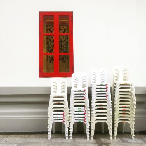 Bangkok Plastic Chairs Temple Window Temple Red Window White Chairs IPhoneography Perspective Fine Art Photography Beautifully Organized Chance Encounters Exploring Style