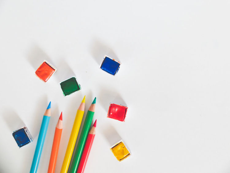 Arts And Crafts Artsy Close-up Color Pencils  Copy Space Creativity Day Indoors  Multi Colored No People Studio Shot Watercolor White Background