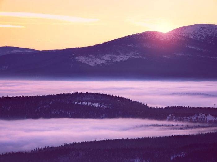 Pink orange sun rise above misty winter mountains. peaks of mountains above creamy mist in valley.