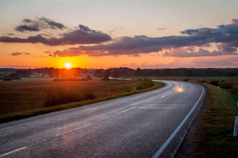 Roadtrip Sunset Landscape Scenics Rural Scene Latvia Turn Flare Colors Plainview Plain View