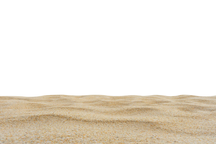 Beach sand texture isolated on white screen. Copy Space No People Land Sand Desert Environment Arid Climate Climate Landscape Scenics - Nature Nature Tranquility Day Isolated On White White Screen Di Cut Paper Summer White Background Brown Backgrounds Indoors  Barren Studio Shot Pattern