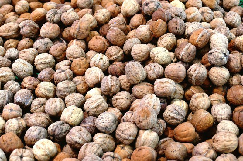 Full frame shot of walnuts in market