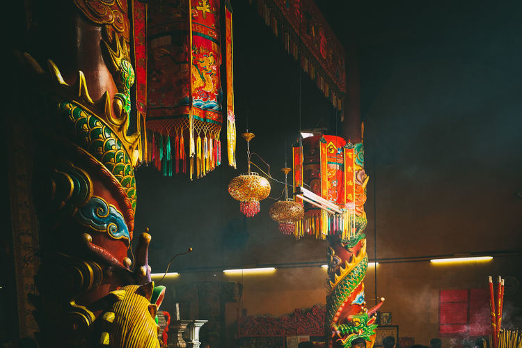 Interior Of Chinese Temple With Incense Stick