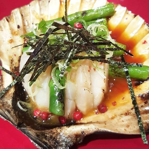 Amazing scallop asparagus, the sauce and flavour is 5⭐ @Kirazu Japanese  Food Seafood Dinner Scallops Tasty Flavour Foodgasm EyeCandy  London Delicious Eating Foodpic Soho Foodie Authentic Fresh