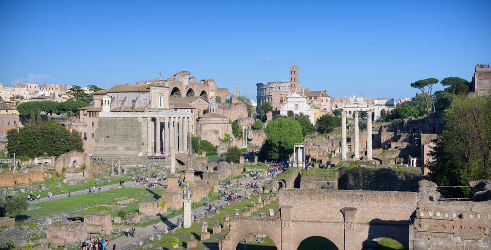 High angle view of roman forum against clear sky