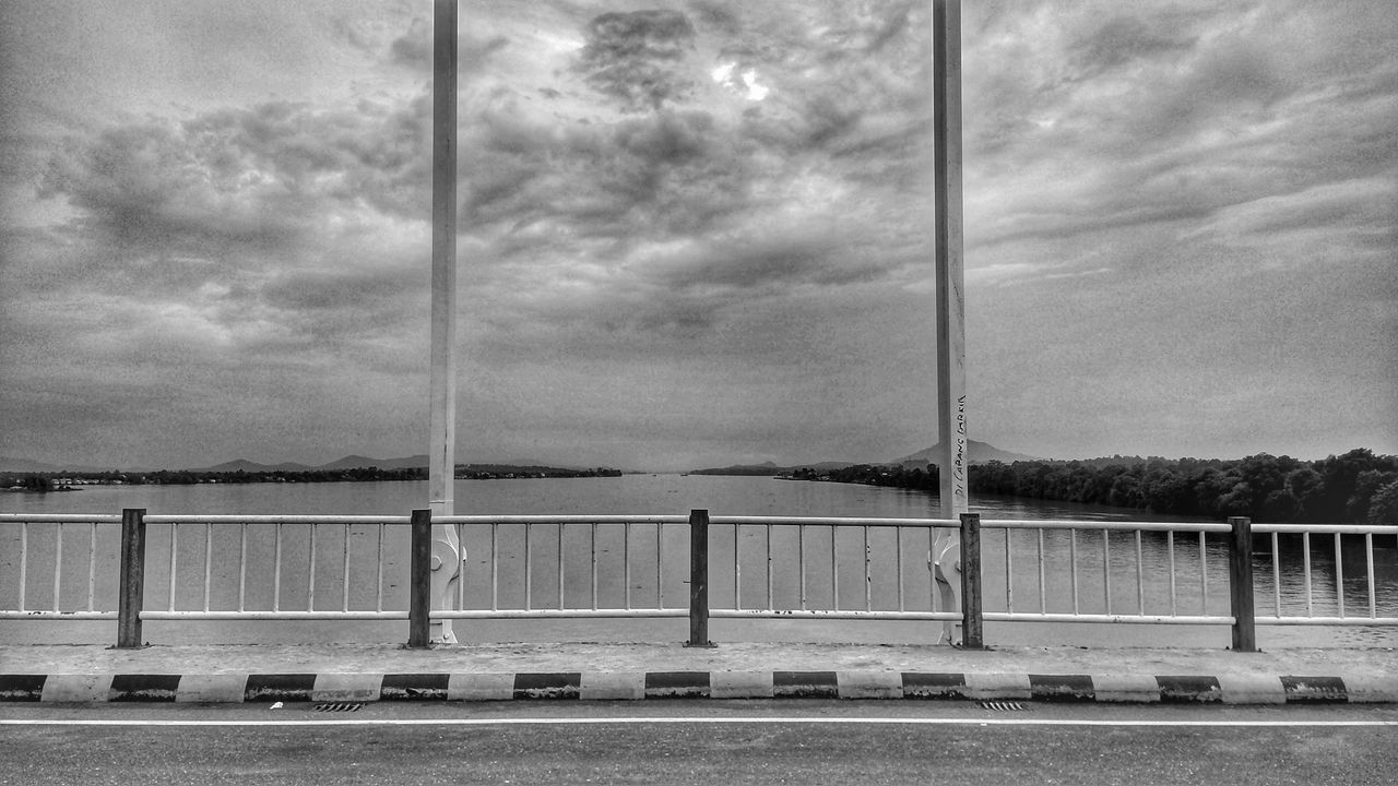water, sky, cloud - sky, nature, no people, sea, day, transportation, railing, bridge, outdoors, bridge - man made structure, built structure, barrier, architecture, connection, tranquility, beauty in nature, bay