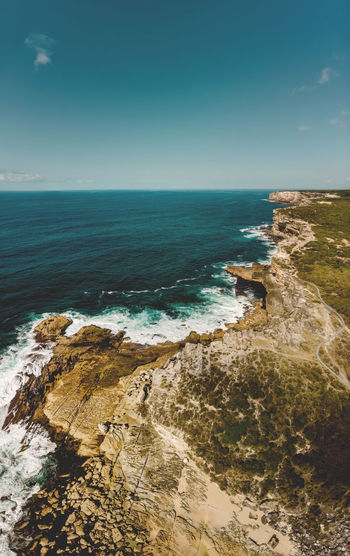 The Royal Coastal Walk from the air at Little Marley Beach, Royal NP. Australia Coastline DJI Mavic Air Drone  Hiking Panorama Travel Aerial Destination Drone Photography Eroded Explore High Angle View Hiking Adventures Horizon Horizon Over Water Marley Beach Outdoors Royal Coast Track Royal Coastal Walk Royal National Park Scenics - Nature Sea Sky Water