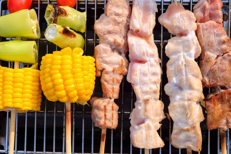 Close-up of meat on barbecue grill
