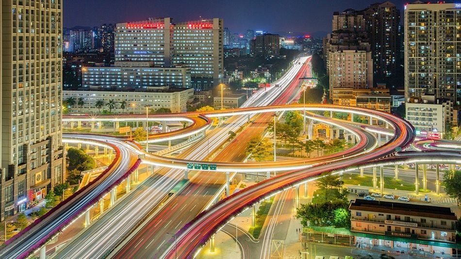 Traffic Speed Light Trail Illuminated Night Transportation City Motion Architecture Cityscape Long Exposure Crowded High Angle View City Life Modern Road Overpass Skyscraper Street Light Elevated Road 好心情(1)
