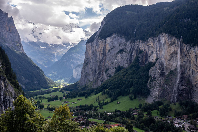 Scenic view of mountains and valley