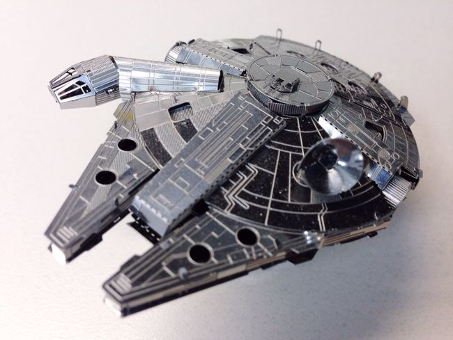 My Millenium Falcon , part of my Star Wars Collections , at My Desk At Home with Natural Light