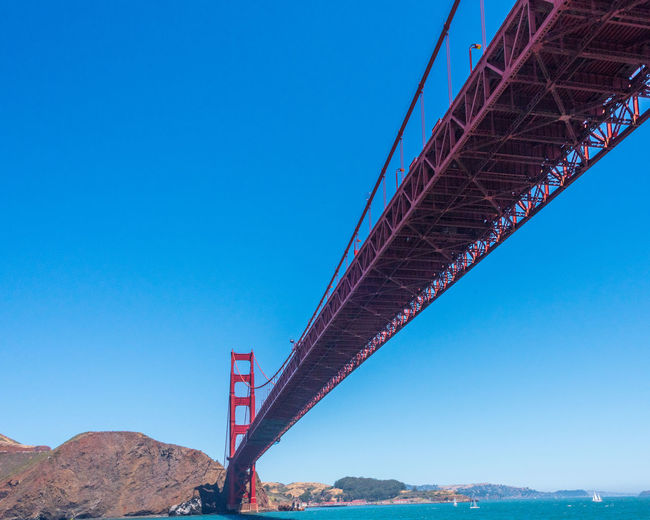 Golden Gate Bridge Sky Water Architecture Blue Nature Built Structure Transportation Connection Bridge Bridge - Man Made Structure Outdoors Clear Sky Copy Space Day Low Angle View Engineering Mountain Metal Suspension Bridge