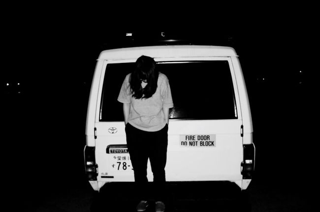 attitude Fashion Rear View Text Night One Person Adult Outdoors People Land Vehicle Woman Hand In Pocket Blackandwhite Monochrome