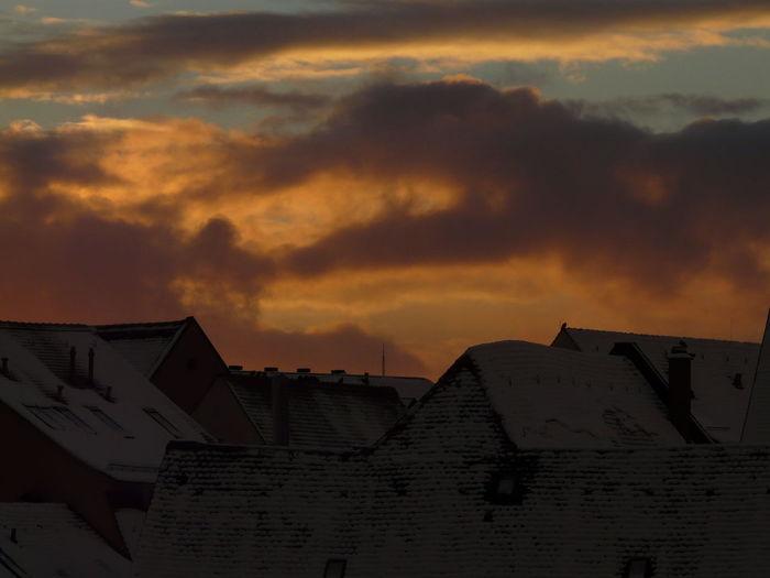 Snow Roofs Winter Sunset
