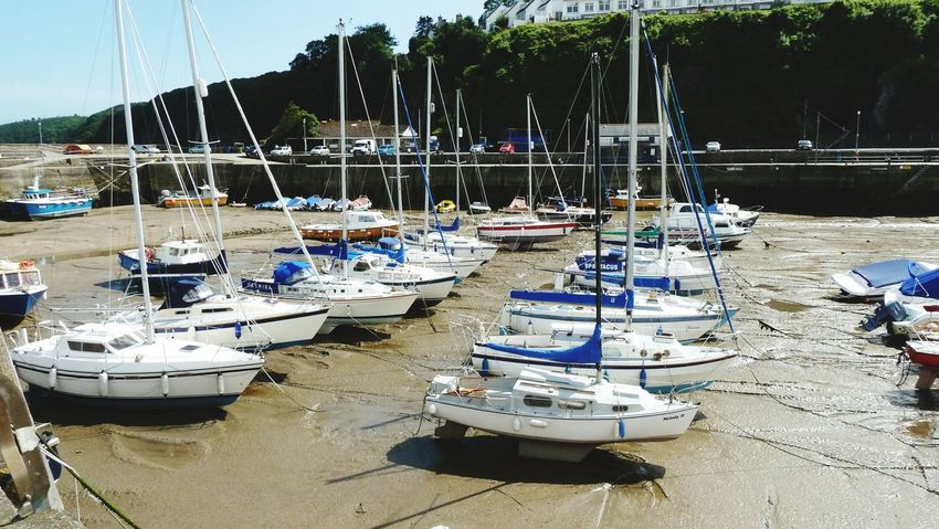 Nautical Vessel Moored Beach Sand Water Sea Outdoors Transportation Tranquility No People Day Sky Sailboat Saundersfoot Harbor Mast Landscape Nature low tide