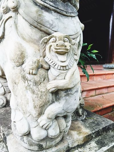 Vietnam Statue Sculpture Funny Dog Grimace Smirk Tongue