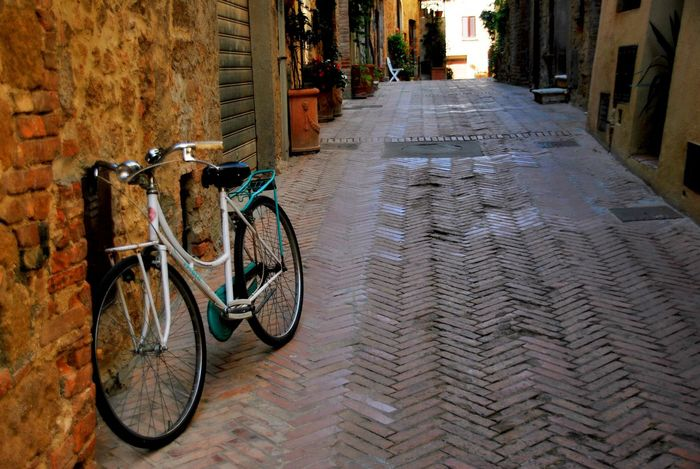 Pienza Italy Architecture Bicycle Building Exterior Built Structure City Day Land Vehicle Mode Of Transport No People Outdoors Stationary Transportation