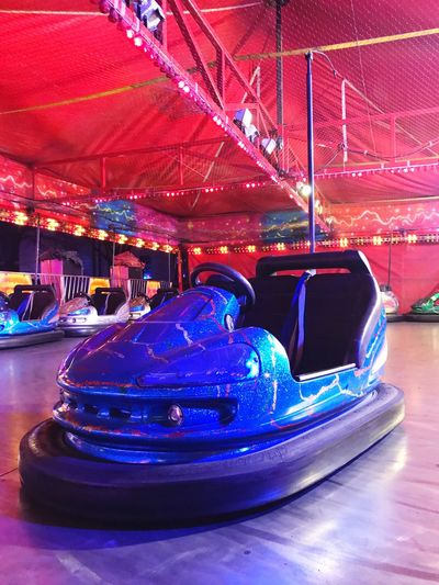 Dodgem Car Dodgems Dodgemcar Fairground Ride Amusement Park Amusement Park Ride Arts Culture And Entertainment Illuminated Indoors  Enjoyment Blue Fun Multi Colored