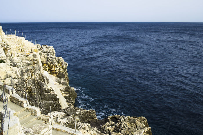 Beauty In Nature Castromarina Clear Sky Day High Angle View Horizon Over Water Italy Lecce Nature No People Outdoors Puglia Rock - Object Salento Scenics Sea Sky Tranquil Scene Tranquility Travel Destinations Travel Photography Water