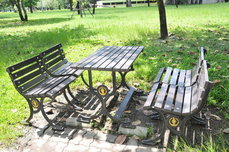 Absence Bench Chair Day Empty Grass Green Color Landscape Nature No People Outdoors Park - Man Made Space Picnic Table Seat