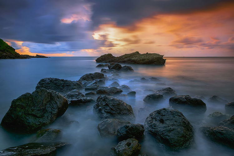 long exposure INDONESIA Beach Beauty In Nature Central Java Cloud - Sky Horizon Horizon Over Water Indonesia_photography Land Long Exposure Mengantibeach Nature No People Outdoors Rock Rock - Object Scenics - Nature Sea Sky Solid Sunset Tranquil Scene Tranquility Water