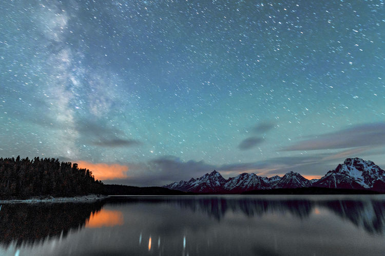 Milky way over jackson lake wyoming grand teton np