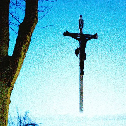 Cross Blue Religion Spirituality Sky Crucifix Jesus Christ Sculpted Religious Symbol