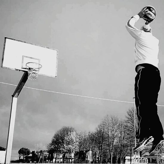Basketball - Sport Low Angle View Activity Sport Basketball Hoop Adult One Person Adults Only Basketball Player Only Men Competitive Sport Sportsman Outdoors