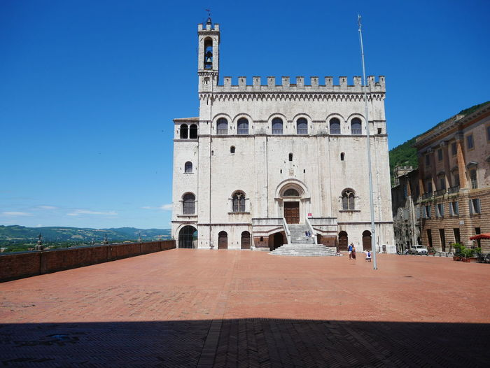 View of historical building against blue sky