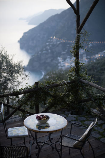 High angle view of food on table against mountain