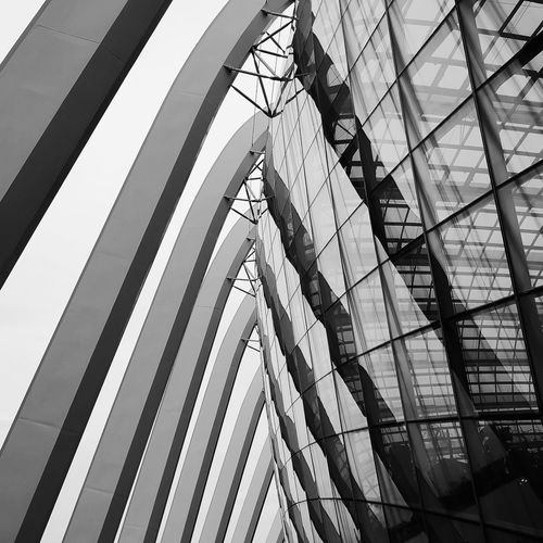 Low angle view of modern glass building