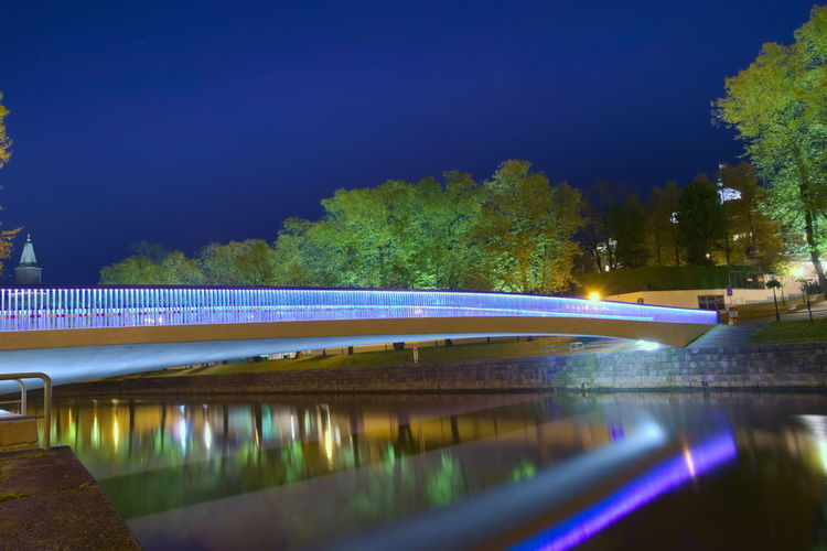 Night Reflection Water Illuminated Long Exposure Light Trail Outdoors No People Nature Architecture Tree Sky Evening Footoverbridge EyeEm Gallery Eyeemthisweek Eyeemphotography Turku Finland Turku In Finland Nature Bridge Architecture Tree Reflection City