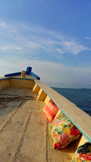 Cambodia Blue Boat Water Sky Sea Scenics - Nature Tranquility Nature No People Beauty In Nature Tranquil Scene Cloud - Sky Day Horizon Outdoors Horizon Over Water Transportation Mode Of Transportation