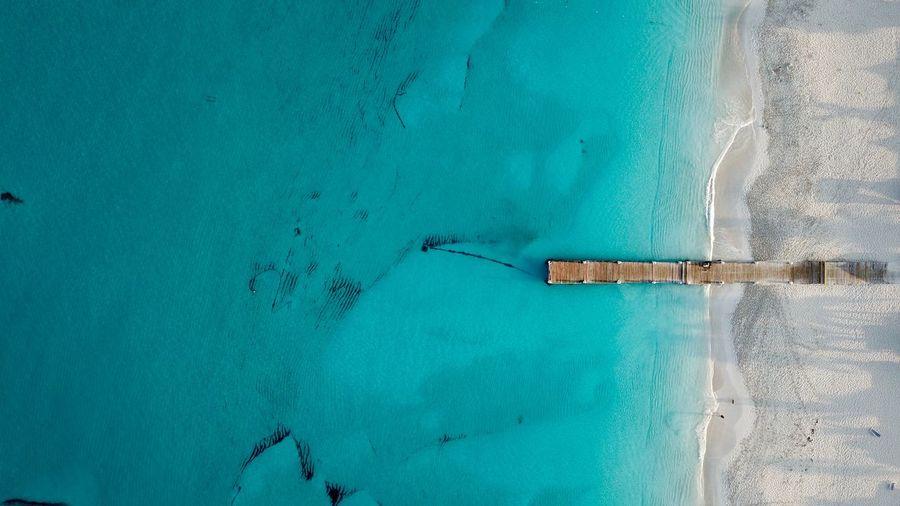High angle view of sea and beach