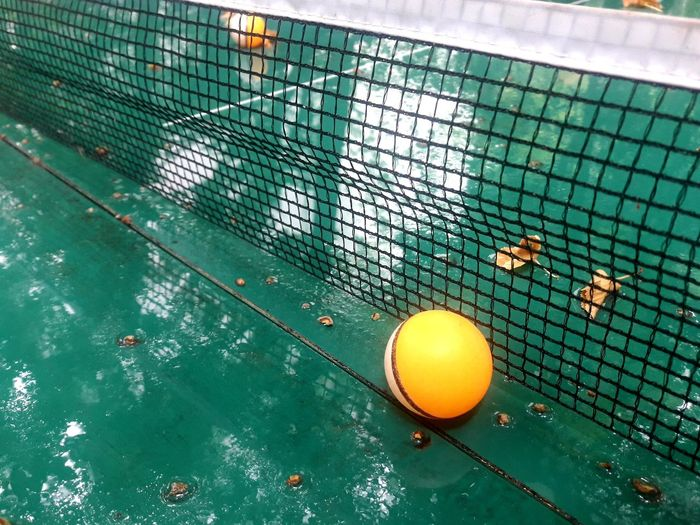 High angle view of a ball in a swimming pool