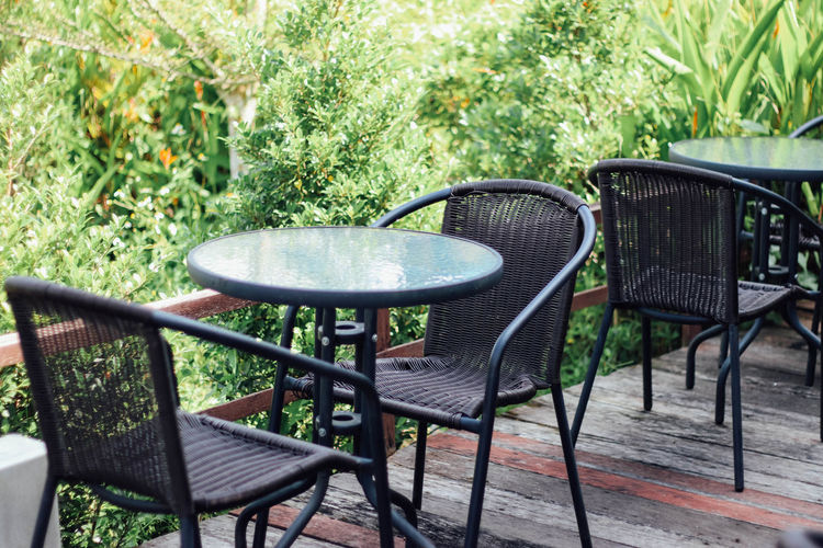 Chair Day Empty Grass Nature No People Outdoors Table